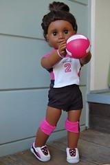 Pink Kneepads (Emily1957) Tags: sonali americangirl blackdoll volleyball sports sport dolls doll toys toy light naturallight nikond40 nikon kitlens pink pinkkneepads