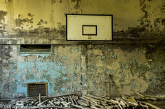Basketball court abandoned (Dave and Jodi Piddington) Tags: chernobyl ukraine holiday decay abandonedbuildings death history nucleardisaster accident travel dark tourism darktourism photography architecture nuclear disasters adventure kiev blackandwhite