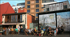 Enjoing the Late Summer Sun (Canis Major) Tags: bristol princeswharf evening oliveshed floatingharbour dining summer sunny tables 500 1000