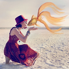 Goldfish (LacrymosaStudio) Tags: red hat girl cute kiss redhead photography color beautiful goldfish fish fotografa gypsy boho chica sombrero rojo pelirroja guapa artstica artistic dream sueo fantasy fantasa pez