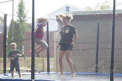 Tramp shenanigans (grilljam) Tags: summer september2016 soakinginthelastfewdays trampoline shenanigans jump me seamus 4yrs ewan 7yrs