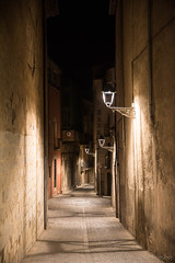Girona (Catalunya, Spain) by night (clodio61) Tags: catalunya europe gerona girona spain ancient architecture building city cityscape color evening exterior historic house lamp night old outdoor photography street urban
