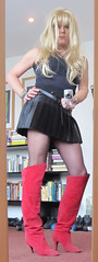 Mirror mirror on the wall... (Irene Nyman) Tags: pleated skater skirt transvestite irene nyman dutch tgirl red boots mirror camera cutie