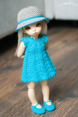 for etsy (_vasilka_) Tags: handmade knit knitting crochet doll clothes etsy littlefee yosd dress hat cotton summer