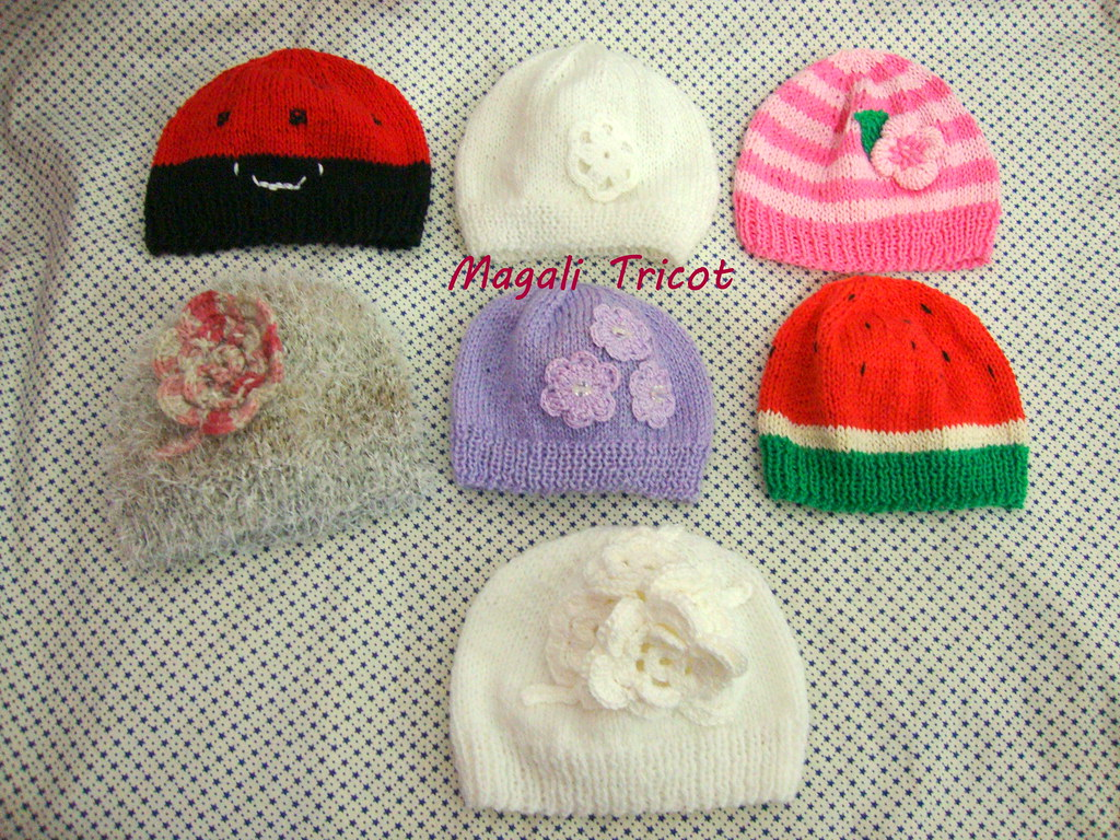 1847b2aa50a49 Gorros para Camila (Magali Tricot) Tags  flores animal tricot gorro flor  infantil bebe