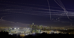 Dodger Blue Hour -- Los Angeles, California (magnetic lobster) Tags: california ca city longexposure panorama night losangeles downtown cityscape skyscrapers baseball dusk aircraft airplanes panoramic multipleexposure citylights bluehour lax helicopters movinglights hdr urbanlandscape airtraffic lightstreaks dodgerstadium planetrails