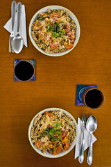 #120 ([ iany trisuzzi ]) Tags: food digital canon tomato lunch eos rebel wine pasta symmetry foodporn alcohol romantic macaroni xsi day120 35mmf2 project365 365days 450d 120365