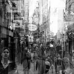 Dagens foto - 251: In Between Days (petertandlund) Tags: street city people blackandwhite bw monochrome square mono noir sweden stockholm doubleexposure streetphotography gamlastan 365 sthlm oldtown cure bnw 08 multiexposure 251365 alwaysexc