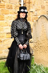 Whitby Goth Weekend 28 (Beachcomber ( By The Bay )) Tags: people beach monochrome festival female photoshop canon photography mono coast seaside interesting north goth 19thcentury perspective victorian steam coastal corset coastline popular northeast seashore period edwardian fascinating powered steampunk northeastcoast bythesea calmsea seasides whitbygothweekend coastallife 450d canoneos450d photoshopelements80 beachcomberbythebay