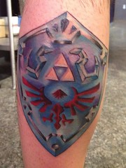 Zelda hyrule shield leg tattoo by Wes Fortier