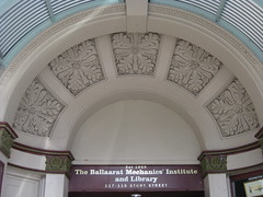 The Entranceway to the Ballarat Mechanics' Institute - Sturt Street, Ballarat (raaen99) Tags: city building heritage century education arch library painted cream entrance australia victoria institute national victoriana trust civic classical archway 1850s ballarat 19th goldrush listed corrugatediron gilt entranceway gilding nineteenth 1859 countryvictoria mechanicsinstitute freelibrary adulteducation sturtstreet heritageweekend sturtst russett goldrushera provincialvictoria ballaratmechanicsinstitute educationalestablishment ballaratheritageweekend technicalinstitution landmarkbuildingarchitecture historyhistoricaldecoration1860s1870s