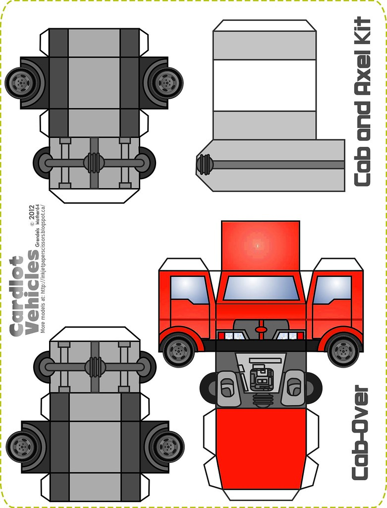 paper truck 3d paper printables of cars, trucks, buses or any vehicle with wheels, garage, roads | see more ideas about paper art, paper crafts and paper models.