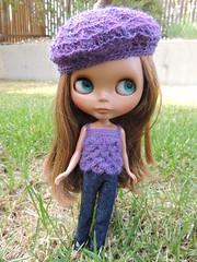 purple petal top and beret set