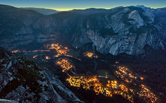Yosemite Valley as the Lights Come On (PrevailingConditions) Tags: california ca dusk yosemite glacierpoint 2012 yosemitevalley