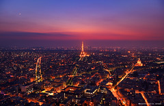 Moonrise over Montparnasse (mj.foto) Tags: longexposure sunset summer paris france nikon eiffeltower bluehour montparnasse iledefrance 2012 montparnassetower d700 markjosue