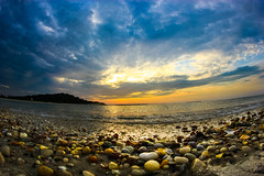 Sunset (JaySmithPhotography) Tags: ocean shells ny beach water beautiful seashells island photo hamptons rocks fisheye tropical hdr rokinon jaysmithphoto jaysmithphotography