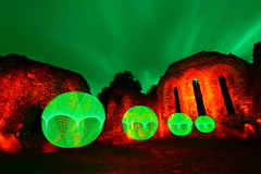 The Green Hour (quornflake) Tags: longexposure light orange lightpainting green night clouds painting ruins long exposure paint orb surrey spooky lighttrails farnham waverleyabbey
