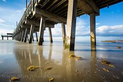Tybee Island Pier morning reflection (Matt Currier Photography) Tags: ocean longexposure morning blue sky seaweed reflection beach water clouds sunrise canon ga georgia island pier lee tybee 5d markiii 1635l bigstopper 5d3