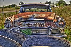 Desoto (DK Digital Photography) Tags: old field tires rusted overgrownfoliage benthood vintagedesoto