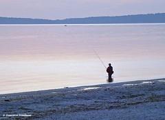 Morning Fishing (4chunmaker) Tags: sunset sky blackandwhite beach water sunrise island long