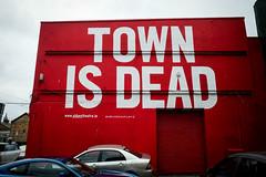 TOWN IS DEAD - Dublin, Ireland (john fullard) Tags: 2016 august dublin ireland streetart abbey theatre mural town is dead townisdead red white facade street