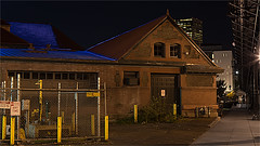 BACKSIDE OF THE TRAIN STATION-55419- (Terry Frederic) Tags: architecture buildings canon5dmkiii lightroom661processed longexposure night oregon photoshop portland streetscene terryfrederic topazadjust5processed topazdenoiseprocessed usa