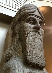 The human head of a winged-lion, British Museum (Kathryn Dobson) Tags: iphoneography gypsum kalha iraq wingedlion statue ancient museum britishmuseum neoassyrian assyrian