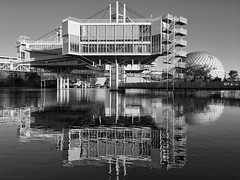 The Future... Past. (@ThetaState) Tags: toronto ontario canada september 2016 infuture ontarioplace art festival reflection water monochrome blackandwhite waterfront architecture ebzeidler zeidler lakeontario archidose cinesphere imaxtheater artificialisland retro