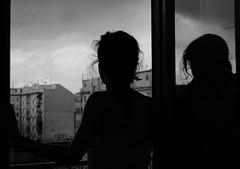 Waiting for the storm (Junia_Ph) Tags: cluds storm girl window roma blackandwhite black white moment waiting time weather biancoenero bianco nero pioggia temporale rain