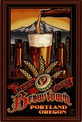 postcard - Portland, OR (Jassy-50) Tags: postcard oregon paullanquist lanquist postcrossing art artwork poster portland brewtown beer mounthood mountain volcano beerglass bier