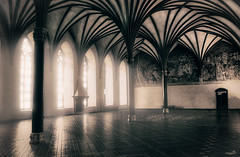 Where kings and knights came together (VandenBerge Photography) Tags: medieval malbork malborkcastle teutonicorder knight building historical europe canon poland travel unescoworldheritage middleages windows light room wallpainting fresco mono architecture