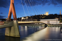 View of Saone river by night (Prochasson Frédéric) Tags: lyon river outdoor rhonealpes cathedral france sunrise suspension saone landmark night old serene twilight de building fourviere basilica historic church famous reflection city sunset sky footbridge dame bridge monument site notre cityscape