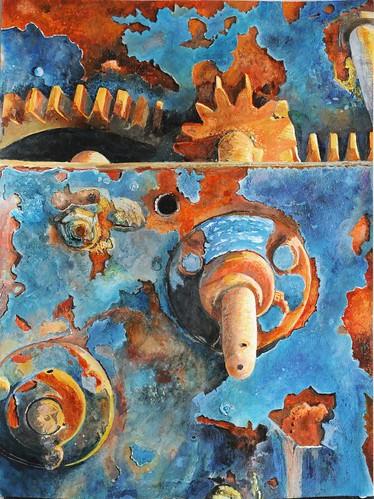 art painting rust acrylic machinery watercolour