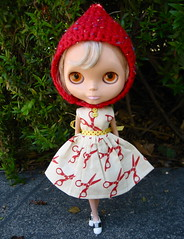 Running with Scissors Dress and Pixie Helmet for Blythe
