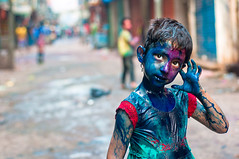 Feel The Blue (--Rahu--) Tags: street 50mm nikon colorful saveme4 saveme5 saveme6 savedbythedeletemegroup saveme2 saveme3 saveme7 candid saveme10 saveme8 saveme9 holifestival saveme1 olddhaka allcolors kidportrait festivalofcolors