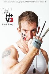 H+V3 (Philip Bonneau) Tags: white male tattoo comics ducttape hero knives superheroes facepaint marvel philip wolverine dogtags caucasian butterknives bonneau noh8