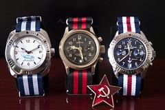 From Russia with love... (Plamen Velev) Tags: soviet uboat chronograph buran vostok redstar chrono amphibia 3133 cronograph natostrap poljot komandirskie