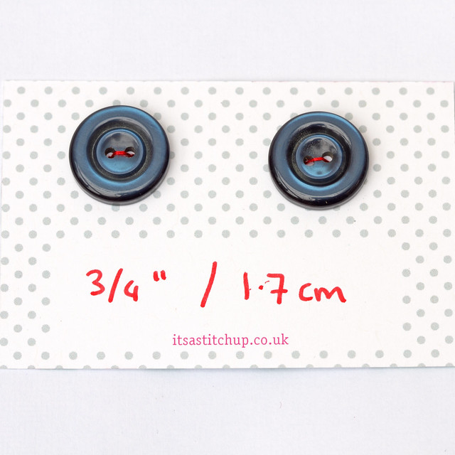 2 vintage blue plastic bevelled buttons – 17mm