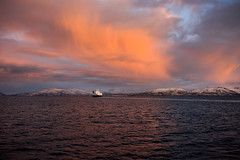 Morning Ferry, Tysfjord (cliff.hellis) Tags: ocean sea sky mountains water norway ferry clouds landscape boat ship arctic creativecommons yabbadabbadoo tysfjord
