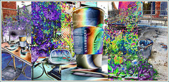 Urban Environment: Coffee Garden. Explore June 16 #254 (Tim Noonan) Tags: digital photoshop texture triptych coffee garden morning table paper sunglasses urban environment building flowers railing cup starbucks trash explore soulocreativity1 awardtree art manipulation shockofthenew sotn vividimagination digitalartscene digitalartscenepro digi tim maxfudgeexcellence maxfudge exoticimage hypothetical netartii maxfudgeawardandexcellencegroup mosca sharingart stickybeak ultramodern