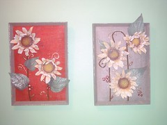mixed media art sunflower    (art art art and me) Tags: art mix media canvas sunflower baghdad applique  hessian        dhuha
