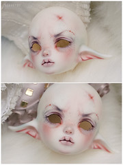 Dragonshrimp! (Bluoxyde) Tags: moon white mod doll dragon chibi makeup bjd custom abjd claws anthro jointed faceup yosd dollzone