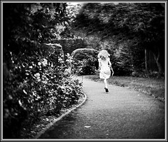 on the way home (pixellesley) Tags: girl hair flying afternoon dancing sunny running skipping pathway freya schoolsout