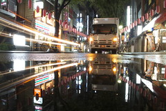 wet delivery (maybemaq) Tags: street city light urban black reflection wet water rain japan shop night truck puddle lights tokyo mirror evening store bars pattern rainyday streetlights geometry weekend walk taxi parking hill sunday restaurants july clarity double structure symmetry beam commercial repetition transparency lanterns shops delivery oneway lighttrails lantern drugstore stores raining reflexions highstreet signboard seveneleven dinnertime logistics nightwalk waterreflection kagurazaka sundaynight  lightstream ushigome wetreflection maybemaq colorphotoaward blinkagain wetdelivery conveninecestore