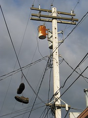 Wires and Laces and Shoe-Blocking Retinas (scampion) Tags: shoes power pole wires telephonepole laces puyallup shoesonawire