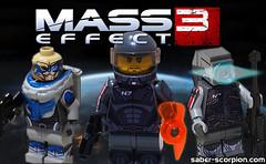 Mass Effect 3 LEGO Minifigs (Saber-Scorpion) Tags: lego minifigs decals legion geth masseffect brickarms turian garrus