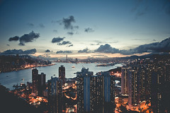 (jim_213) Tags: city light sunset sea sky cloud buildings landscape hongkong ship sony nightview a55 sal1680z