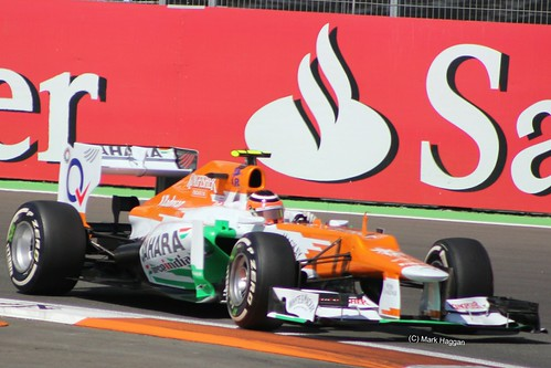 Nico Hulkenberg in his Force India F1 car at the 2012 European Grand Prix at Valencia