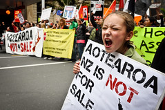 Asset sale protest