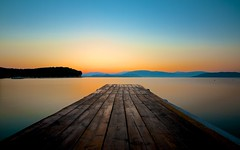 Greece (Stephen Walford Photography) Tags: longexposure travel blue sea sky orange water sunrise canon pier jetty sigma greece 7d 1020mm corfu agni